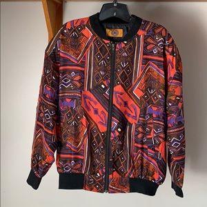 Vintage Adriana Aztec Print Silk Bomber Jacket